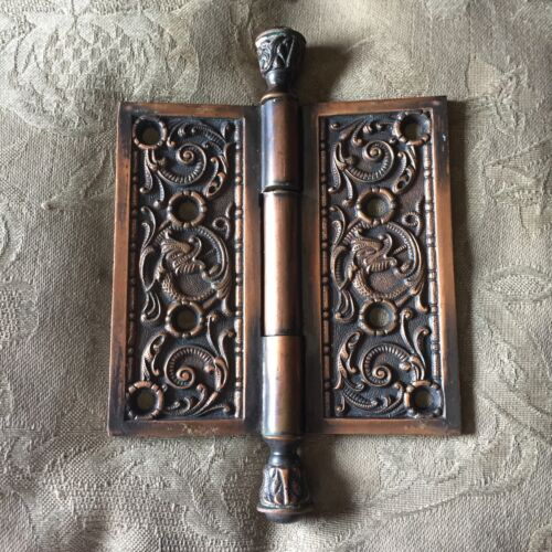 """Antique Portulaca Pattern By Penn Hardware Solid Brass Hinge 4 1/2""""x4 1/2"""""""