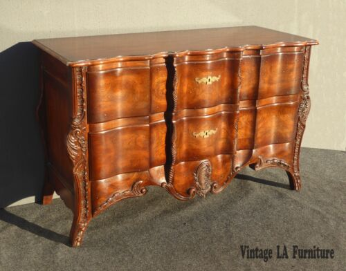 JOHN WIDDICOMB Ornate Carved Wood Two Drawer Bombay CHEST Console Table