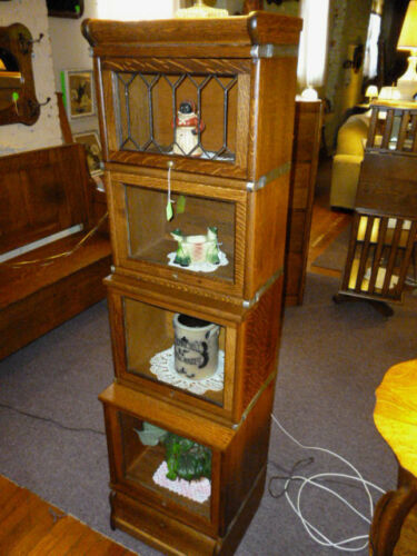 Antique Oak Bookcase 1/2 size stacking Barrister Lawyers Globe Macey restored #2