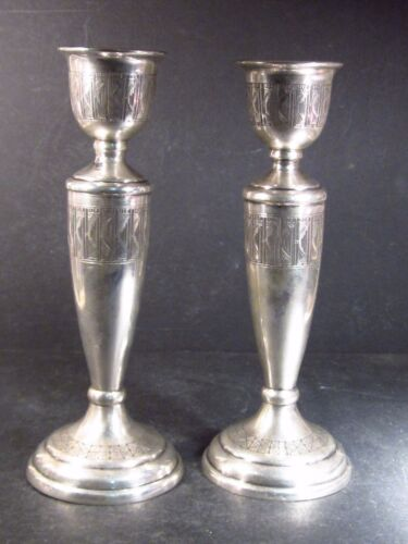 """Vintage .900 Silver PAIR TWO CANDLE HOLDERS   8""""  463g  No Mono"""