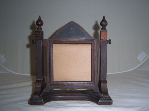ANTIQUE VICTORIAN SELF STANDING GOTHIC Wood Swivel PICTURE FRAME~Arch design