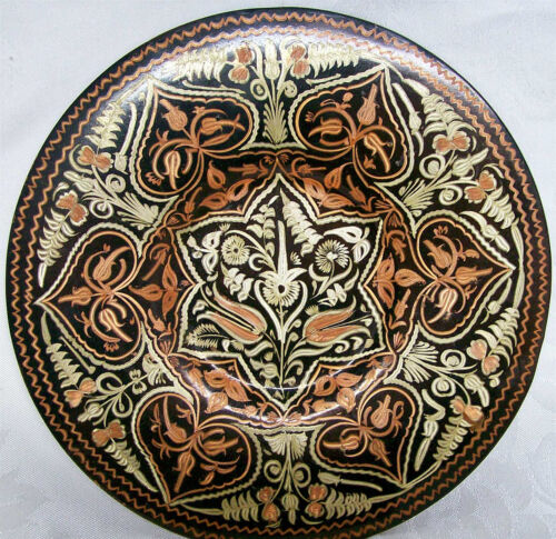 COPPER & GOLD INDIA ART PLATE OR PLAQUE W/VERY ORNATE FLORAL PATTERN
