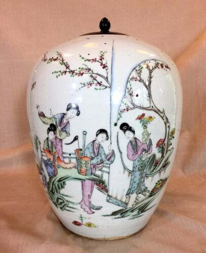 "An Antique Chinese Famille Rose Jar 11"" with Figural Scene, Republic Period."