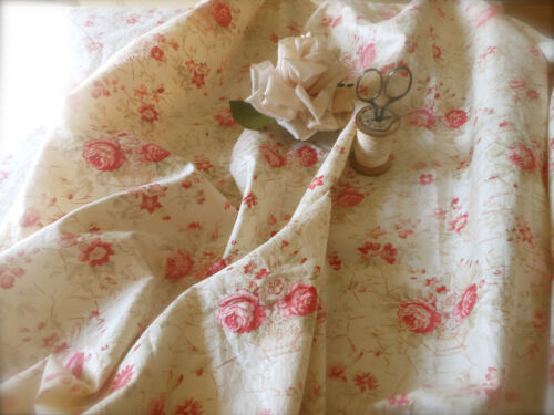 Antique French Shabby Cottage Roses Basket Cotton Fabric ~ berry pink soft green