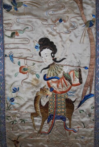 BEAUTIFUL 19th Century Qing Chair Cover SILK Embroidery