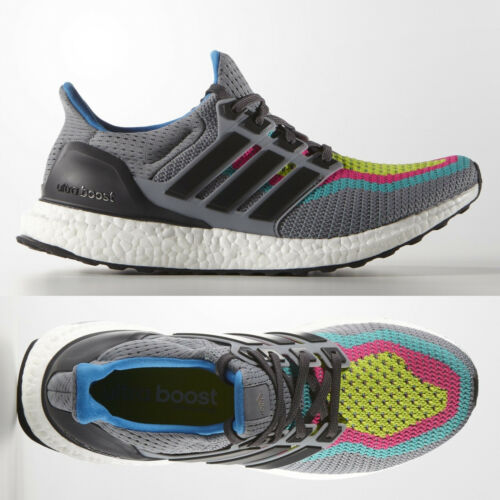 adidas Ultra Boost 2.0 Mens Grey Multi Running Shoes AQ4003 UltraBOOST SIZE 6 7