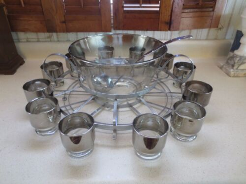 Dorothy Thorpe Roly Poly  Silver Band Punch Bowl Set w/ Alum Stand & Ladle 15 pc