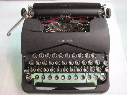 Vintage Corona Standard Typewriter with Original Case and Warranty