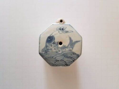 Fine Choseon Yi Dynasty White / Cobalt Blue Drawing Water Dropper-19th C