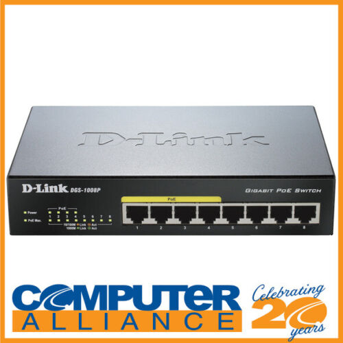 8 Port D-Link DGS-1008P Gigabit Network Switch with Power over Ethernet
