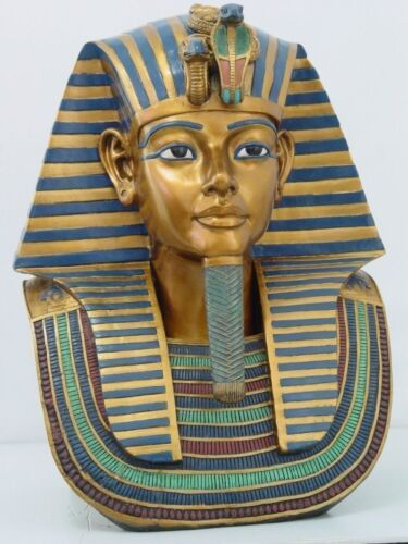 """ANCIENT EGYPTIAN LARGE 19"""" King Tut Bust 19""""H  Ornate Decorative Collectible"""