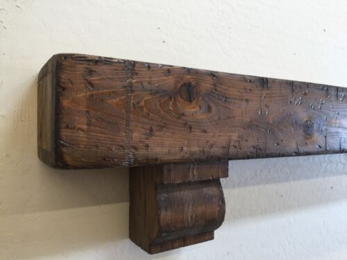 Rustic Fireplace Mantle,Wood Beam Mantle with corbels,Rustic Mantle,72 inches