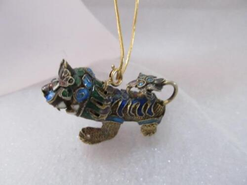 Antique-Vintage Chinese Enameled Foo dog delicate filigree pendant and necklace