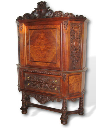 Antique Renaissance Revival Vintage Raised Cupboard Carved Ornate China Cabinet