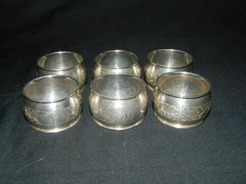 SET OF 6 ANTIQUE ENGLISH HAND CHASED STERLING SILVER NAPKIN RINGS