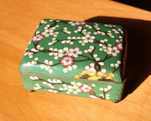 Antique Chinese Cloisonne Enameled Hinged Cigarette Dresser Box Cherry Blossom