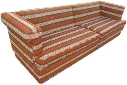 Vintage Mid Century Modern Orange Stripped SOFA Couch Sectional