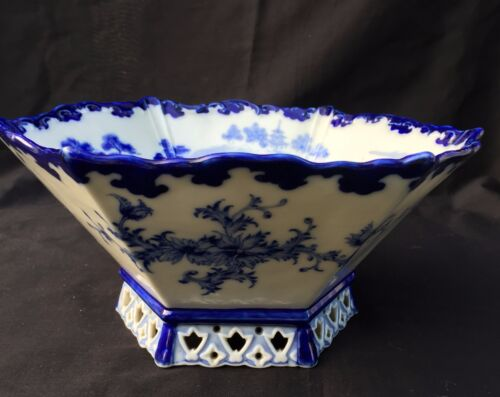 Very Rare Japanese Antique Hexagonal Blue and White Bowl by Kato Shubei II