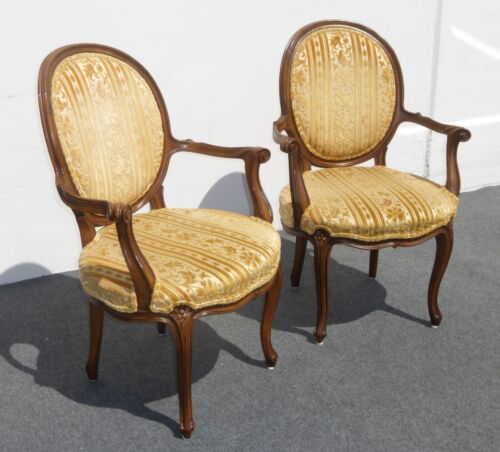 Pair of KARGES French Provincial ACCENT ARM CHAIRS Gold Silk & Velvet