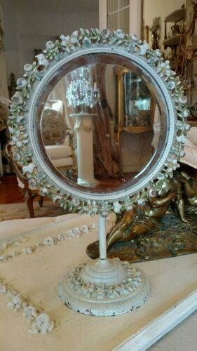 SHABBY ANTIQUE VTG  barbola ROSE METAL VANITY mirror OLD ROUND FRAME