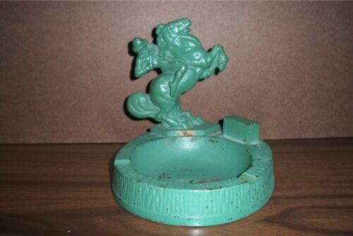 Antique Hubley Cast Iron Ashtray Indian on Horseback with original green  color