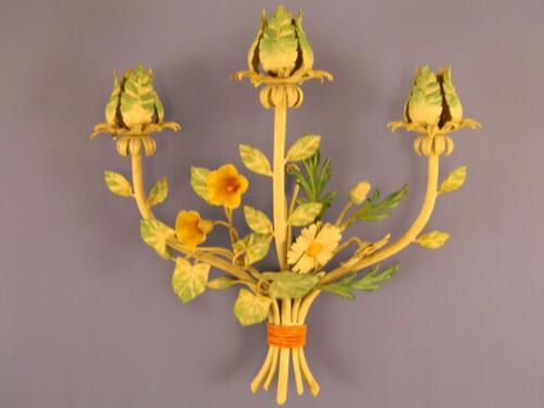 Beautiful, Hand Painted Italian Tole Wall Sconce; Intricate Metalwork; c.1940
