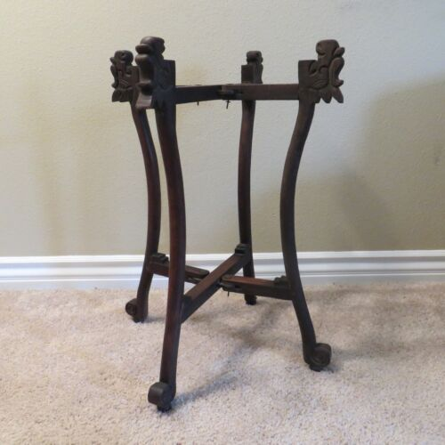 """Vintage Hand Carved Moroccan Folding Table Base Wood Stand Legs 24"""" Tall"""