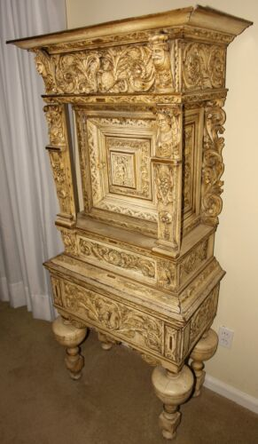 1790 CASTLE - Highly Carved European Court Cabinet -Fine MEDIEVAL GOTHIC Carving