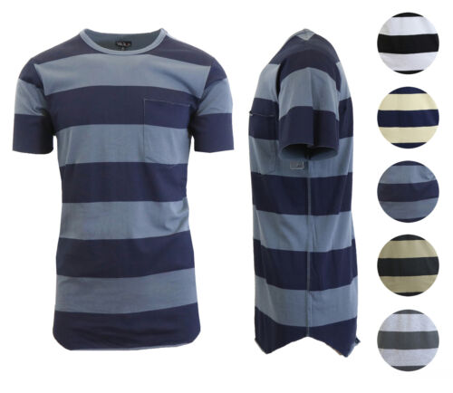 Men's T-Shirt Washed Combed Cotton Striped Tees