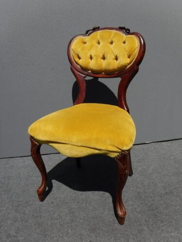 Vintage French Provincial Carved Wood Tufted Yellow Velvet Accent CHAIR