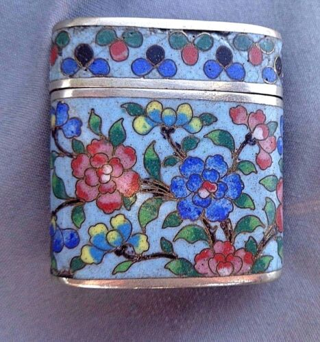RARE ANTIQUE CHINESE CLOISONNE ON SILVER OPIUM CONTAINER