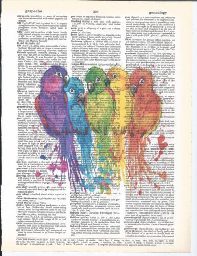 """Dictionary Page Art Colorful Birds 8.5"""" X 11"""" w/ Frame Book Page Print Vintage"""
