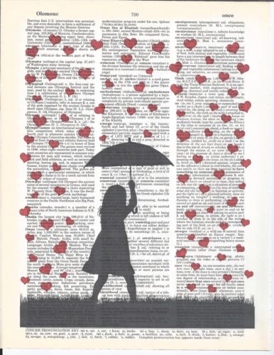 "Dictionary Page Art Raining Hearts 8.5"" X 11"" w/ Frame Book Page Print Vintage"