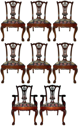 《PRISTINE》 Set of 8 Chippendale Era Claw Foot Hickory Dining Chairs