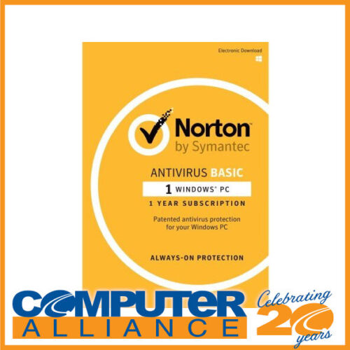 Symantec Norton Antivirus Basic for 1 PC 12 Month OEM Subscription PN 5397039345
