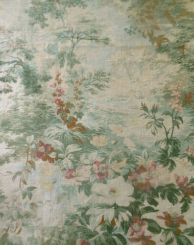 Antique French Scenic Woodland Botanical Floral Cotton Fabric ~ Green Plum Ochre