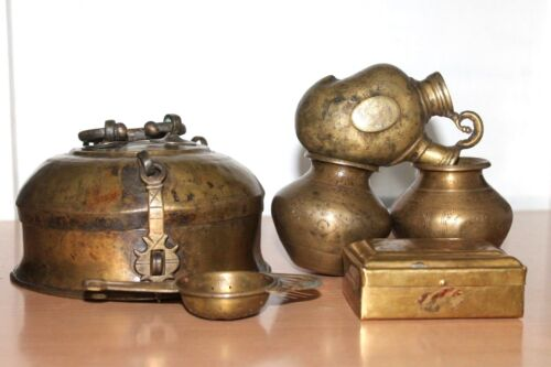 A Collection Lot of Antique Brass Pots, Hookah Pot, Box, Jewelry Box & Strainer