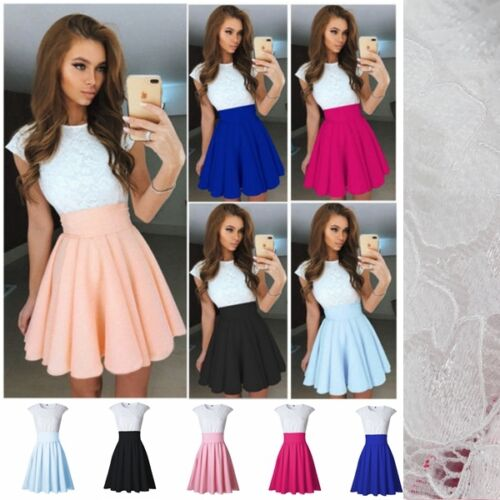 Women Lace Short Sleeve Dress Cocktail Party Evening Dress Formal Prom Dresses