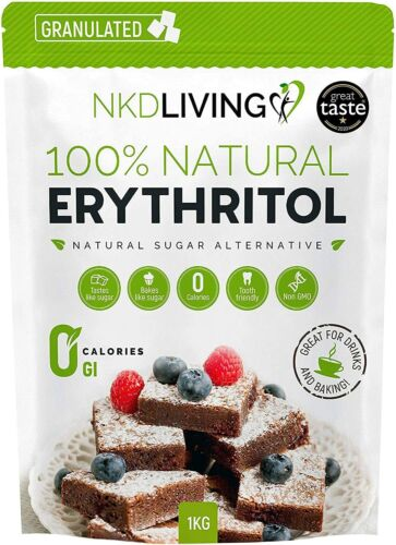 """Premium Erythritol Zero Calorie Sweetener by NKD Living (Granulated) <br/> """"1 KG ONLY £8.50""""  """"2 KG ONLY £15.75 """"3 Kg ONLY £19.99"""