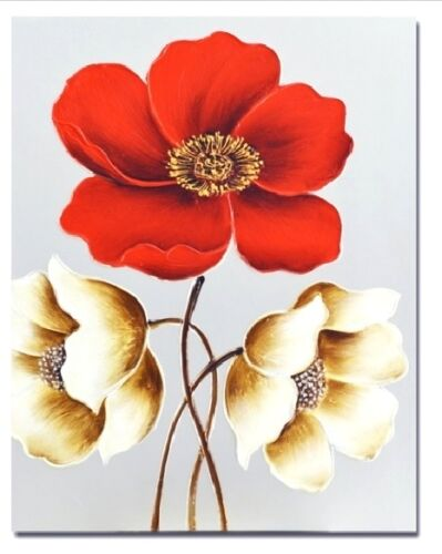 Three Flowers Red White Hand Painting Stretched Canvas Print Wall Art Wall Decor