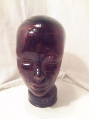 Molded Purple Glass Manniquin Head Form Hat Stand 20th century * 11-1/4 inches