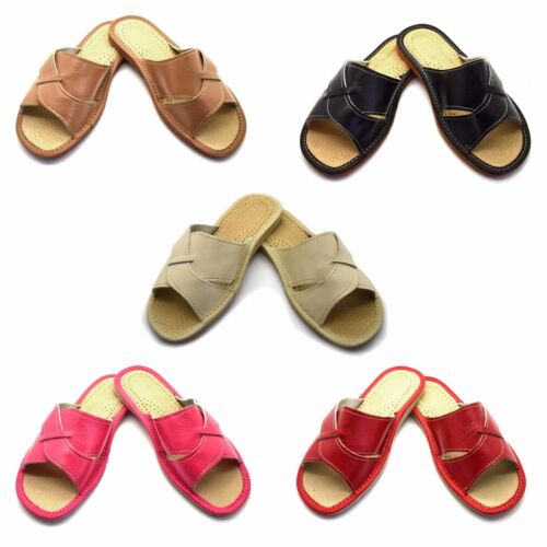 Womens Ladies Eco Leather Slippers Slip On Shoes Size 3 4 5 6 7 8 Mules Sandals