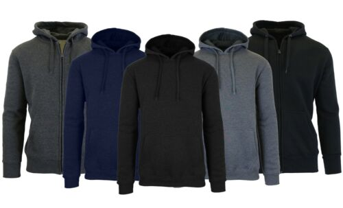 Mens Fleece Hoodie Jacket Coat Sweatshirt Zip Outerwear Heavy Warm Layering M-3x