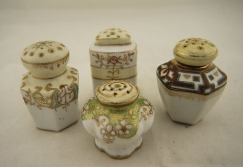 4 x Antique Japanese signed Nippon hand painted floral sugar casters/shakers