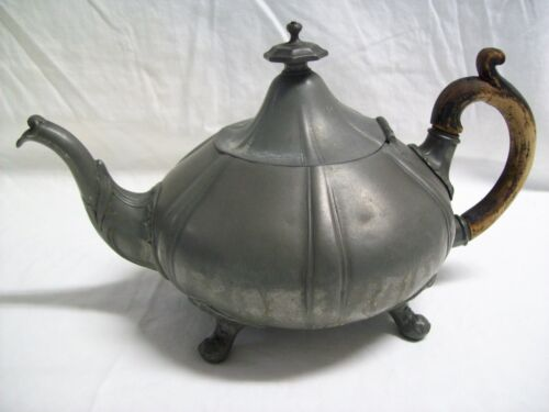 Antique 1800's Shaw & Fish Sheffield 6 Cup Pewter Teapot Wood Handle