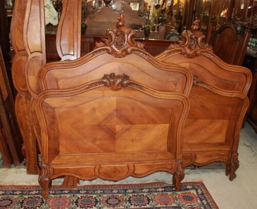 Beautiful Antique French Walnut Louis XV Pair Of Twn Size Bed.