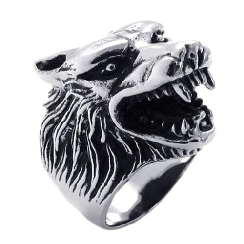 Jewelry Men's Ring Stainless Steel Gothic Wolf Head Black + Silver 12 Size