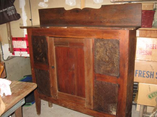 Antique Pie Safe 1800's. North Carolina Heart Pine    Hand Punched Tin