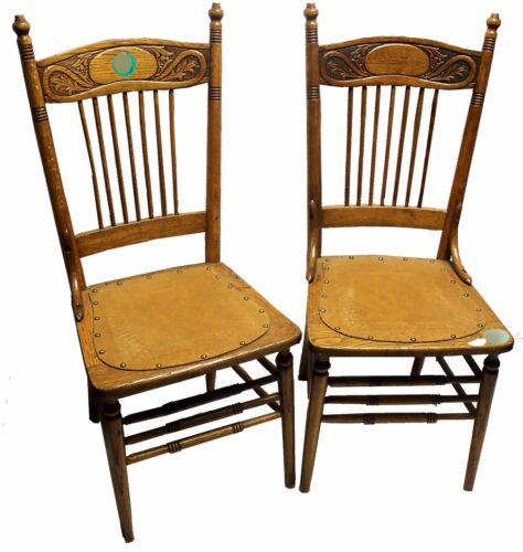 Pair of Antique Oak Pressed Back Spindle Chairs with Tooled Leather Seats