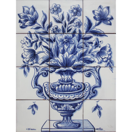 Portuguese Traditional Azulejos Tiles Panel Mural DELFT BLUE FLOWERS VASE